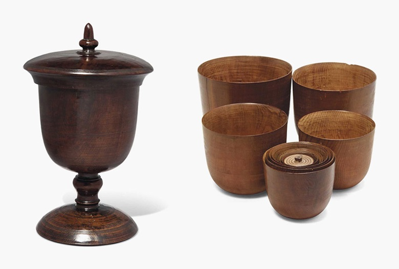 A cedarwood goblet and eleven dipper cups. England, late 17thearly 18th century. The goblet 10 in (25.4 cm) high, the dipper cups 4½ in (11.5 cm) to 1½ in (3.8 cm) diameter. Estimate £3,000-5,000. This lot is offered in Seward Kennedys Cabinet of Curiosities and The Tony Robinson Collection of Treen Drinking Vessels on 22 November 2016 at Christie's in London, South