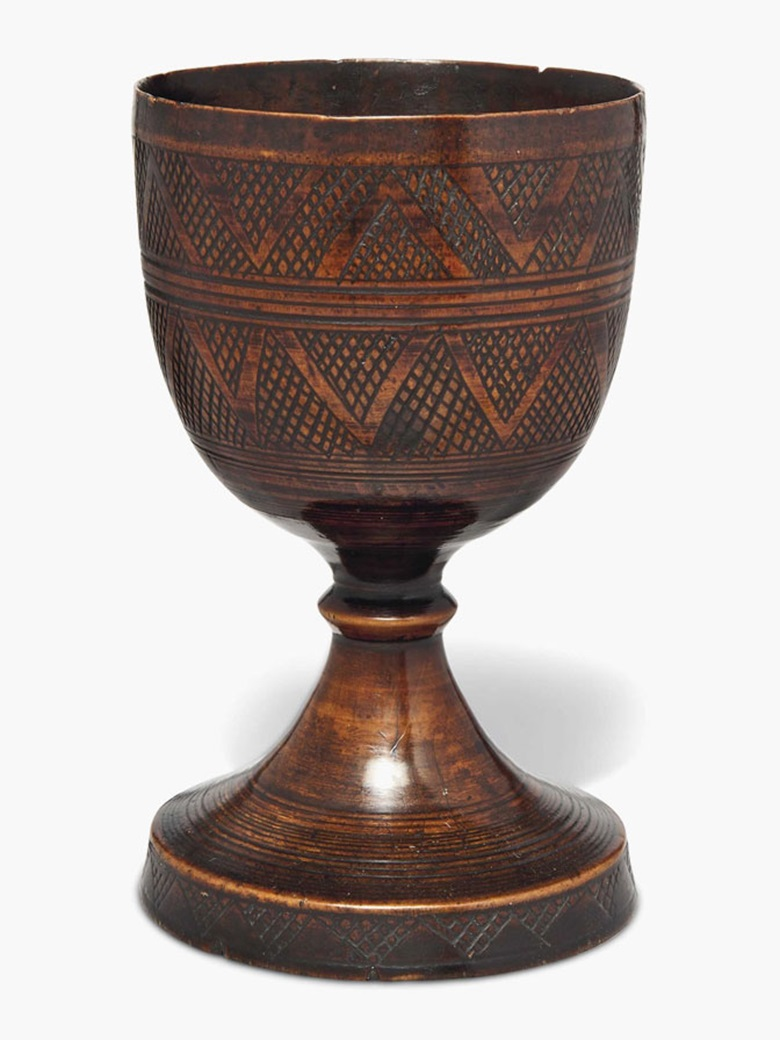 A pearwood goblet. England, late 16thearly 17th century. 7¼ in (8.4 cm) high. Estimate £3,000-5,000. This lot is offered in Seward Kennedys Cabinet of Curiosities and The Tony Robinson Collection of Treen Drinking Vessels on 22 November 2016 at Christie's in London, South Kensington
