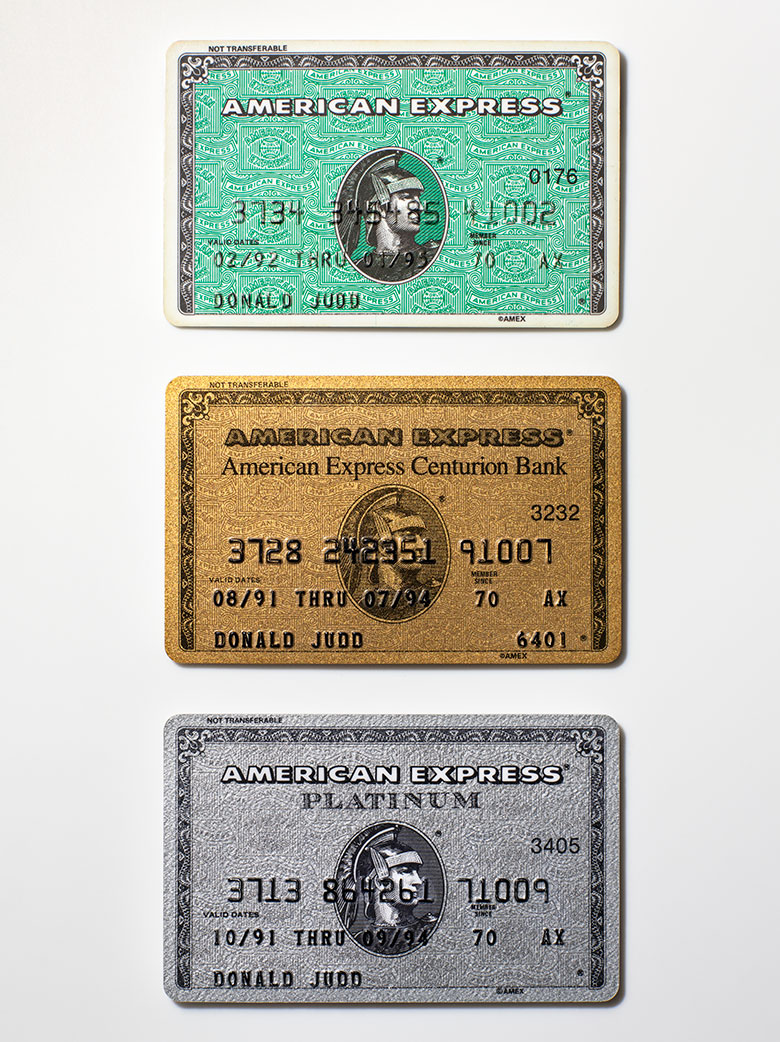 Donald Judd's (1928-1994) tri-colour American Express credit cards, 1991 and 1992. Photography Henry Leutwyler