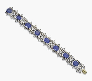 A 19th-century sapphire and diamond bracelet. Sold for SFr.48,750 on 15 November 2016