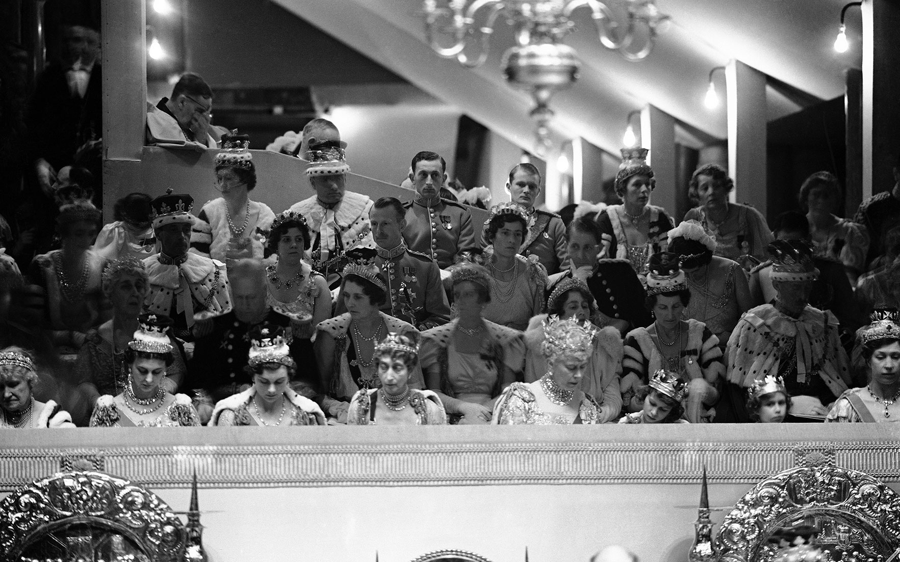 The royal box at the London Coronation of King George VI, Westminster Abbey, London, May 12, 1937 Front row (second from left) the Duchess of Kent, wearing her pair of diamond earrings sold at