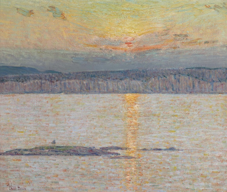 Childe Hassam (1859-1935), Sunset Ironbound, Mt. Desert, Maine, circa 1896. Oil on canvas, 26 x 30 in (66 x 76.2 cm). Estimate $1,500,000-2,500,000. This lot is offered in American Art on 22 November 2016 at Christie's in New York, Rockefeller Plaza