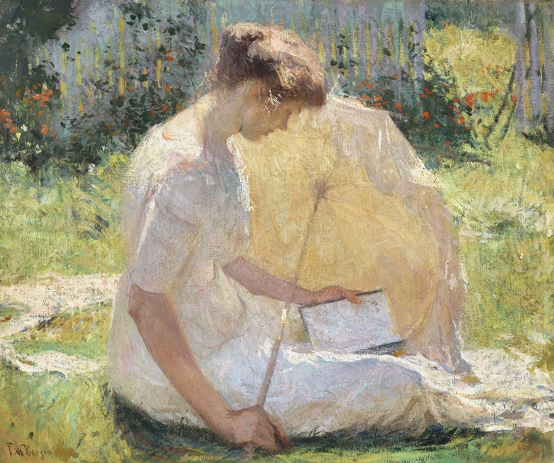 Frank Weston Benson (1862-1951), The Reader, 1906. Oil on canvas, 25⅜ x 30¼ in (64.5 x 76.8 cm). Estimate $2,500,000-3,500,000. This lot is offered in American Art on 22 November 2016 at Christie's in New York, Rockefeller Plaza