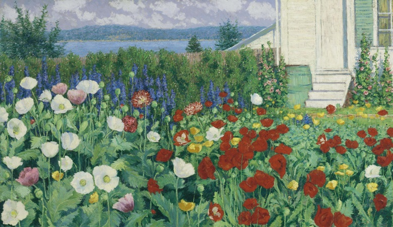 John Leslie Breck (1860-1899), Garden, Ironbound Island, Maine, c. 1896. Oil on canvas, 28½ x 48½ in (72.4 x 123.2 cm). Estimate $700,000-1,000,000. This lot is offered in American Art on 22 November 2016 at Christie's in New York, Rockefeller Plaza