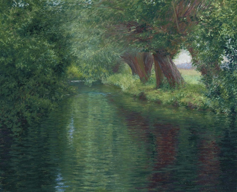 John Leslie Breck (1860-1899), The River Epte, Giverny. Oil on canvas, 18 x 22 in (45.7 x 55.9 cm). Estimate $100,000-150,000. This lot is offered in American Art on 22 November 2016 at Christie's in New York, Rockefeller Plaza