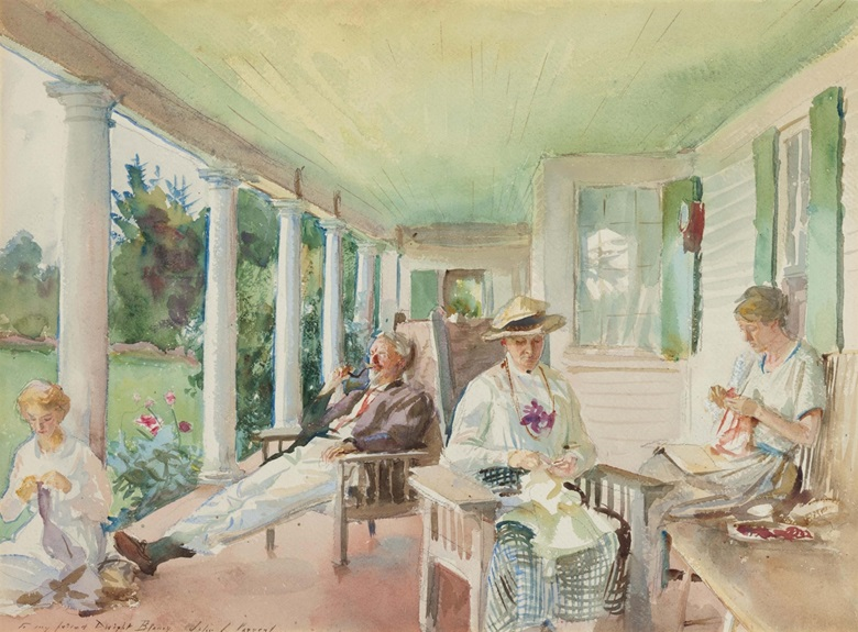 John Singer Sargent (1856-1925), The Piazza; On The Verandah, circa 1921-22. Watercolor and charcoal on paper, 15½ x 21 in (39.4 x 53.3 cm). Estimate $700,000-1,000,000. This lot is offered in American Art on 22 November 2016 at Christie's in New York, Rockefeller Plaza