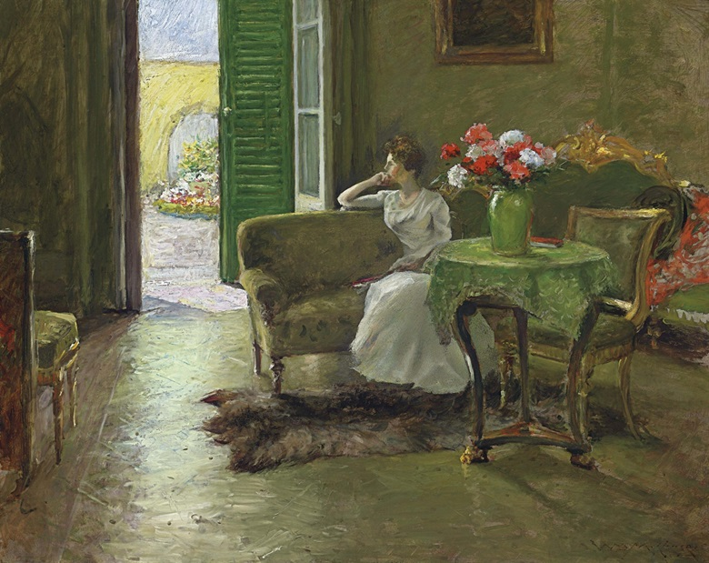 William Merritt Chase (1849-1916), A Memory In The Italian Villa, circa 1910. Oil on canvas, 29¼ x 36¼ in (74.3 x 92.1 cm). Estimate $700,000-1,000,000. This lot is offered in American Art on 22 November 2016 at Christie's in New York, Rockefeller Plaza