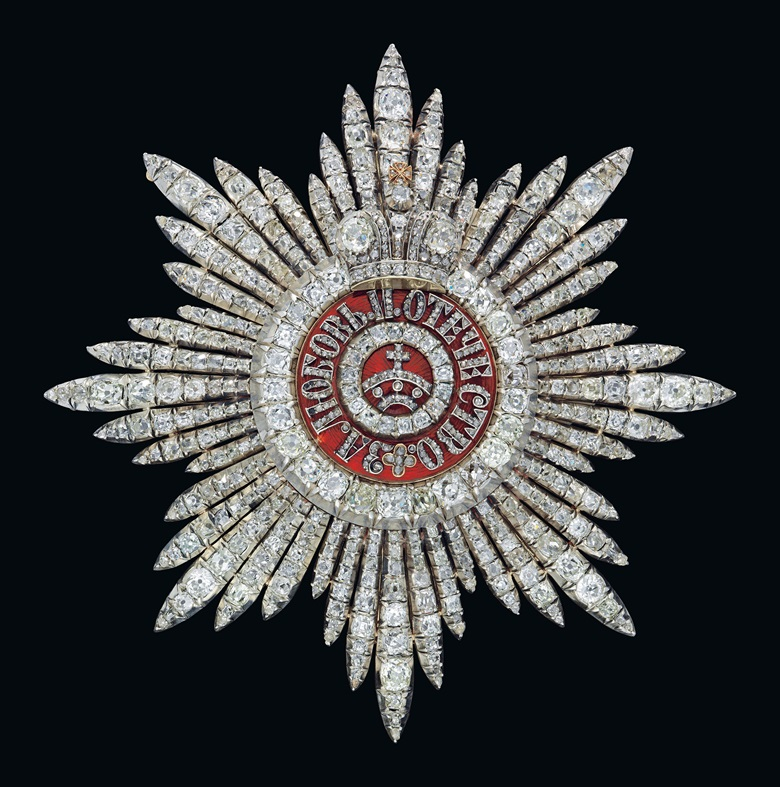 A rare silver-topped gold-mounted and enamel star of the Order of St Catherine with diamonds, first class, presented to Queen-Consort Victoria of Spain. By Bolin, St Petersburg, circa 1908, scratched inventory number 44062. 3¾ in (9.5 cm) high. Estimate £70,000-90,000. This lot is offered in the Russian Art sale on 28 November at Christie's London