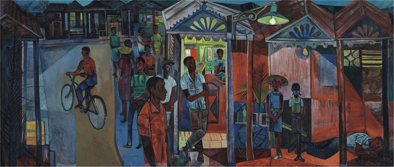 John Minton (1917-1957), Jamaican Village. Oil on canvas, 60 x 142½ in (152.4 x 362 cm). Estimate £100,000-150,000. This lot is offered in Modern British & Irish Art Evening Sale on 23 November 2016 at Christie's in London, King Street