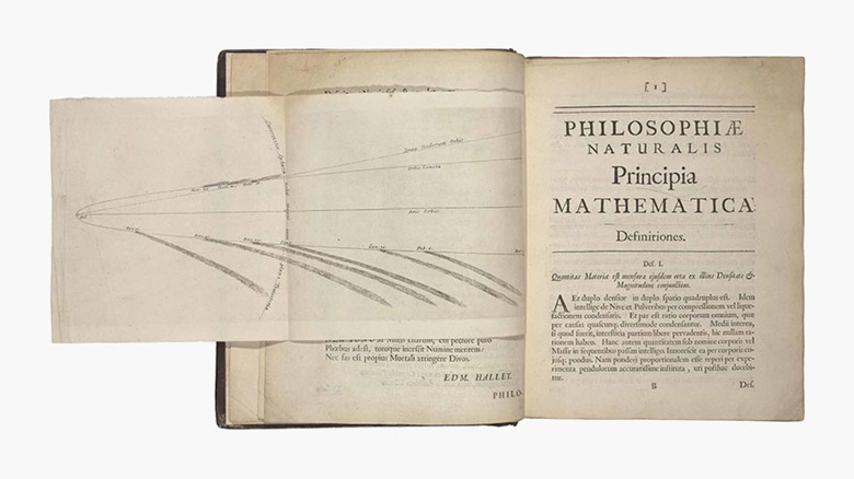 Isaac Newton. Philosophiae naturalis principia mathematica. London 1687. First edition. Sold for £266,500 at Christie's London in July 2016. A very attractive copy which, compared to the James II copy, demonstrates the impact on price of unique characteristics