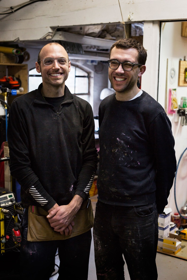Jonathan Trayte (left) graduated from the Royal Academy Schools in 2010. His approach to making sculpture and installation is informed by our global language of consumption and the manipulation of consumer decision-making. London-born designer, printmaker and creative director Kit Neale (right) founded his namesake brand in 2012. He has worked on collaborations and special projects with IKEA,