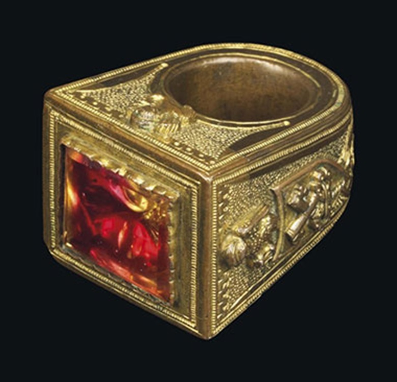A gilt-bronze and rock-crystal papal ring. Italian, 15th century. 2¼ in (5.3 cm) high. Estimate £4,000-6,000. This lot is offered in From Ancient to Modern A Distinguished Private Collection on 7 December 2016 at Christie's in London, King Street