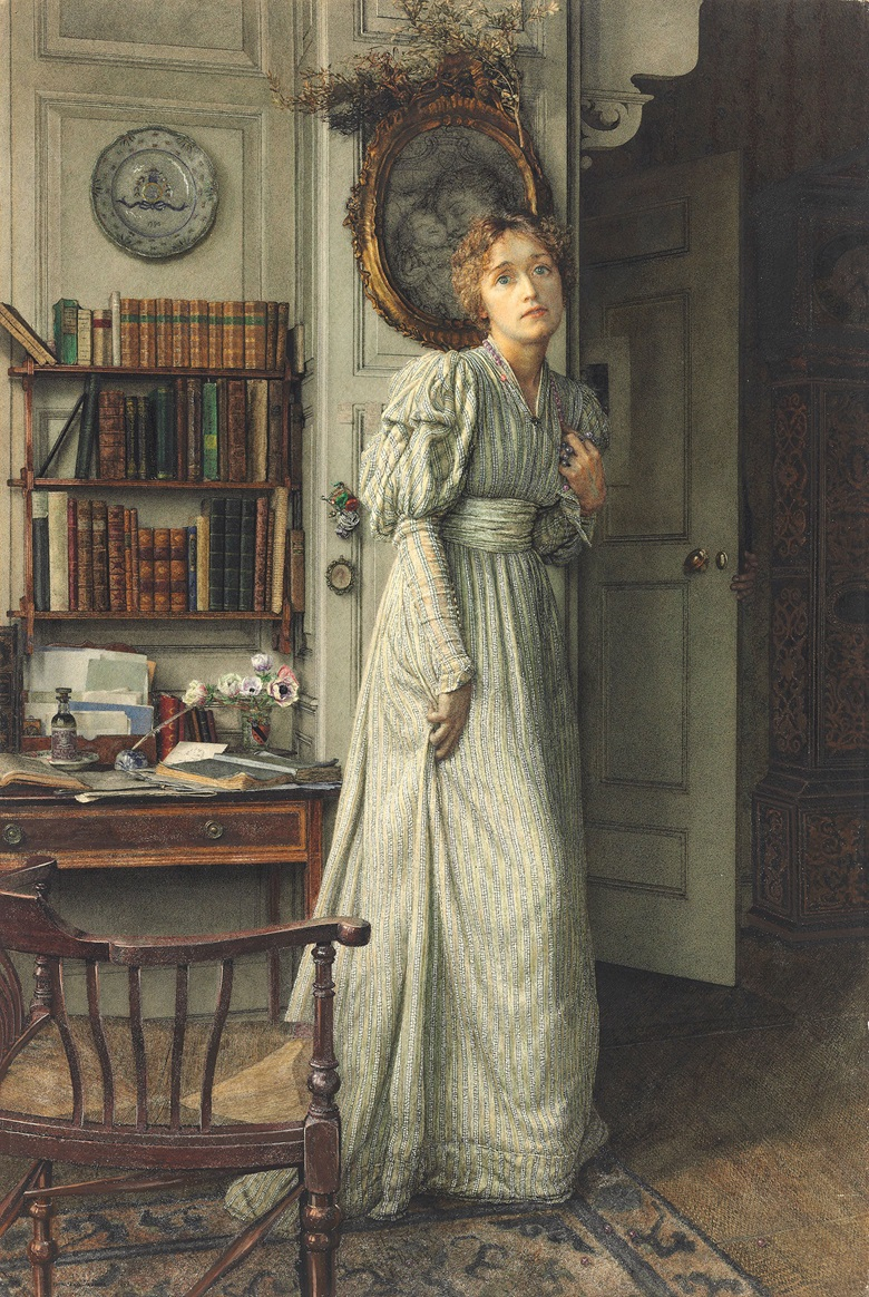 Anna Alma-Tadema (1867-1943), The Closing Door. Pencil and watercolour heightened with bodycolour and gum arabic on paper laid on a Lambert & Co. board, 20¾ x 14 in (52.7 x 35.5 cm).  Estimate £12,000-18,000. This lot is offered in Victorian, Pre-Raphaelite & British Impressionist Art & British Impressionist Art on 14 December 2016 at Christie's in