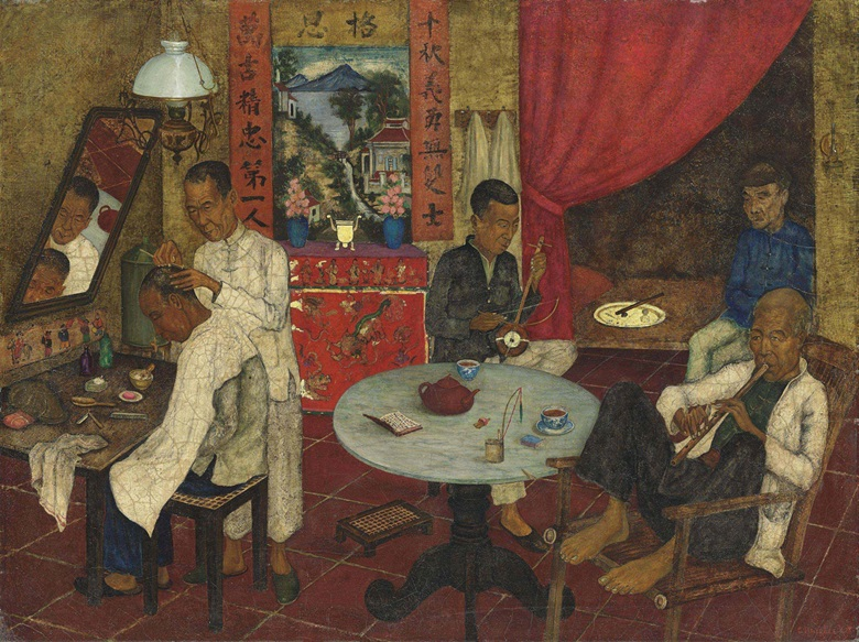 Ernst C. L. Agerbeek (1903-1945), A Chinese Barbers Shop. Oil and gold paint on canvas, 24 x 31½ in (60.9 x 80 cm). Estimate £30,000-50,000. This lot is offered in Topographical Pictures on 15 December 2016 at Christie's in London, King Street