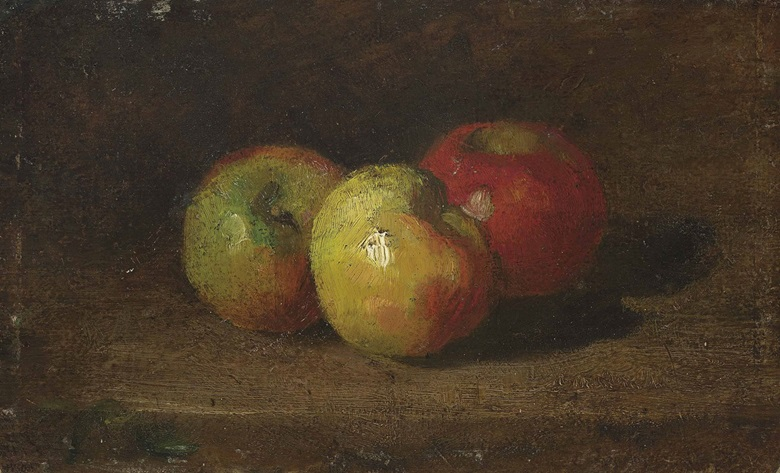 Gustave Courbet (French, 1819-1877), Nature Morte aux Trois Pommes. Oil on paper laid down on board, 6¼ x 9⅞ in (15.9 x 25.1 cm). Estimate £40,000-60,000. This lot is offered in 19th Century European & Orientalist Art on 13 December 2016 at Christie's in London, King Street