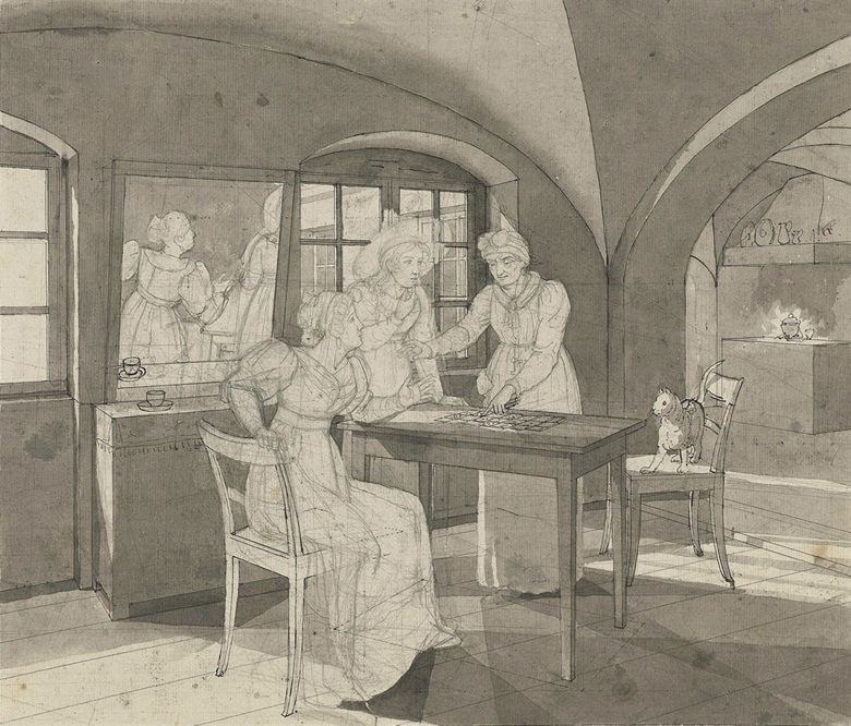 Johann Erdmann Hummel (Kassel 1769-1852), At the Fortune Tellers. Black chalk, pen and black ink, grey wash, with detailed perspective lines, watermark C & I Honig, 14¼ x 16⅜ in (36 x 41.4 cm). Estimate £1,000-1,500. This lot is offered in Old Master Drawings and British Drawings and Watercolours on 7 December 2016 at Christie's in London, South Kensington