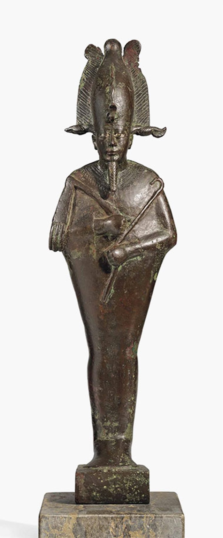 A large Egyptian bronze Osiris. Late Period, 25th Dynasty, circa 747-656 B.C. 21½ in (54.6 cm) high. This lot was offered in The Resandro Collection on 6 December 2016 at Christie's in London and sold for £100,000