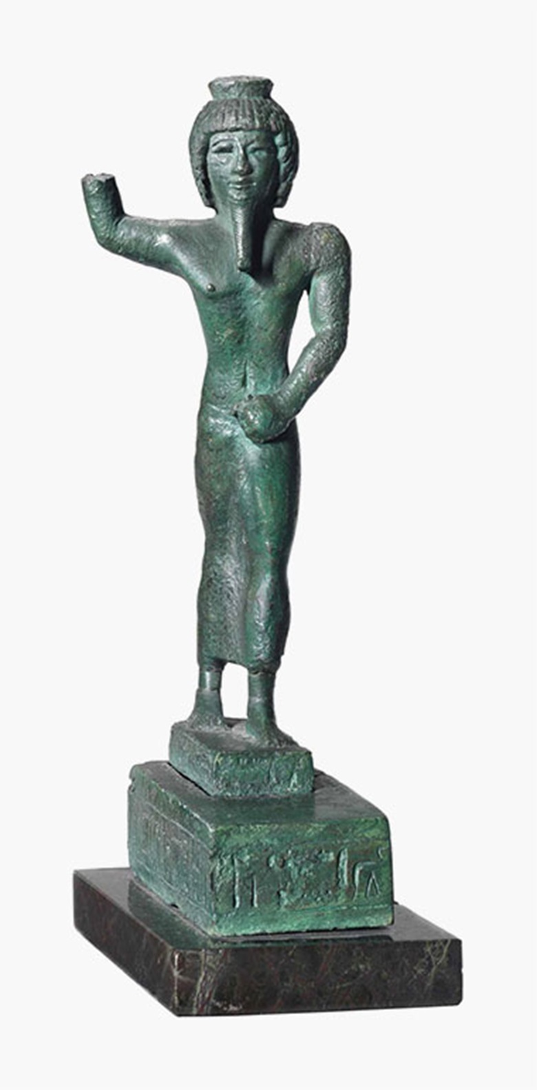An Egyptian bronze Onuris. Third Intermediate Period, circa 1069-664 B.C. 9¾ in (25 cm) high. This lot was offered in The Resandro Collection on 6 December 2016 at Christie's in London and sold for £25,000