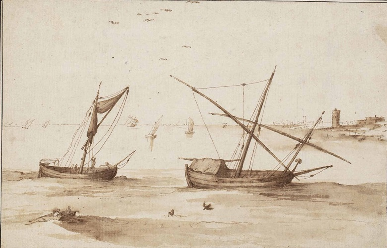 Jan Brueghel the Elder (Brussels 1568-1625), Fishing Vessels on a Calm Sea off a Distant Promontory. Pen and brown ink, brown wash, watermark encircled bird, black ink framing lines, made up upper right , 6⅝ x 10½ in (17 x 26.5 cm). Sold for £158,500 on 10 July 2014
