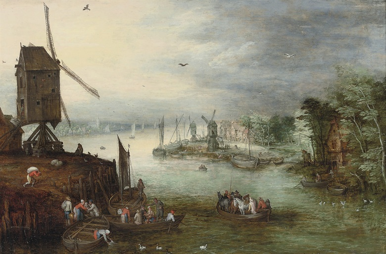 Jan Brueghel II (Antwerp 1601-1678), A River Landscape with a Ferry Crossing Near a Windmill, a Village Beyond. Oil on panel, 17 x 26⅛ in 43.4 x 66.5 cm. Sold for $434,500 on 28 January 2009
