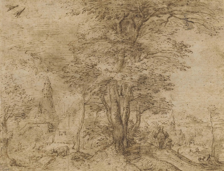 Pieter Bruegel the Elder (Breda 1525-1569), A Village with a Group of Trees and a Mule. Pen and brown ink, traces of brown wash, 7¾ x 10⅛ in (19.7 x 25.8 cm). Sold for £1,082,500 on 7 July 2015
