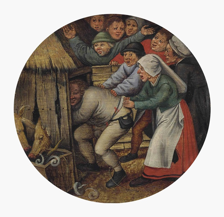 Pieter Brueghel the Younger (Brussels 15645-163738), The Drunkard Pushed into the Pigsty. Oil on panel, circular, 7 in (17.8 cm) diameter. Sold for $783,750 on 5 June 2013