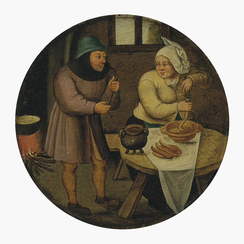 Pieter Brueghel the Younger (Brussels 15645-16378), A Woman Making Sausages. Oil on panel, circular, 6⅞ in (17.4 cm) diameter. This lot was offered in Old Masters Evening Sale on 8 December 2016 at Christie's in London and sold for £197,000