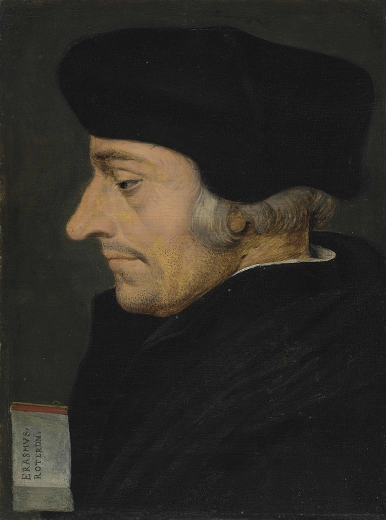 Pieter Brueghel the Younger (Brussels 15645-16378), Portrait of Erasmus of Rotterdam (1466-1536). Oil on panel, unframed, 8⅞ x 6⅝ in (22.4 x 16.9 cm). This lot was offered in Old Masters Evening Sale on 8 December 2016 at Christie's in London and sold for £269,000