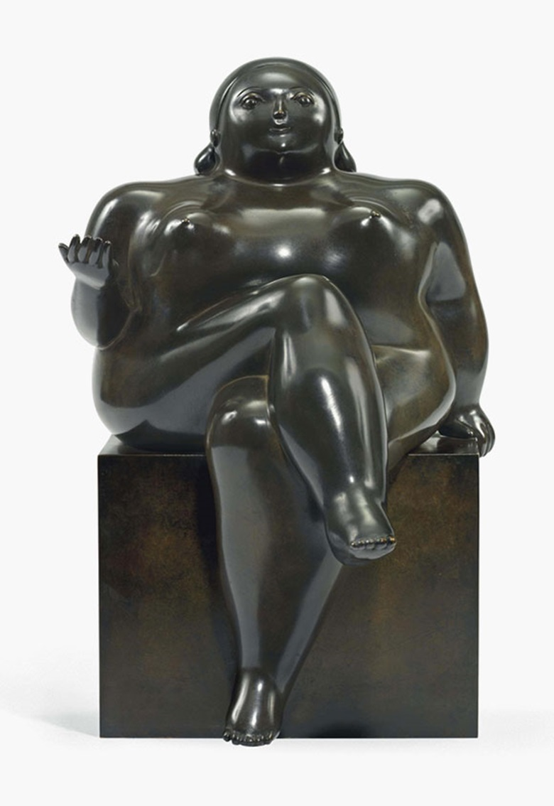 Fernando Botero (b.  1932), Mujer Sentada (Seated Woman), conceived in 1981. Bronze with dark brown patina, 16¾ in (42.5 cm) high. Estimate £120,000-150,000. This lot is offered in From Ancient To Modern A Distinguished Private Collection on 7 December 2016 at Christie's in London, King Street