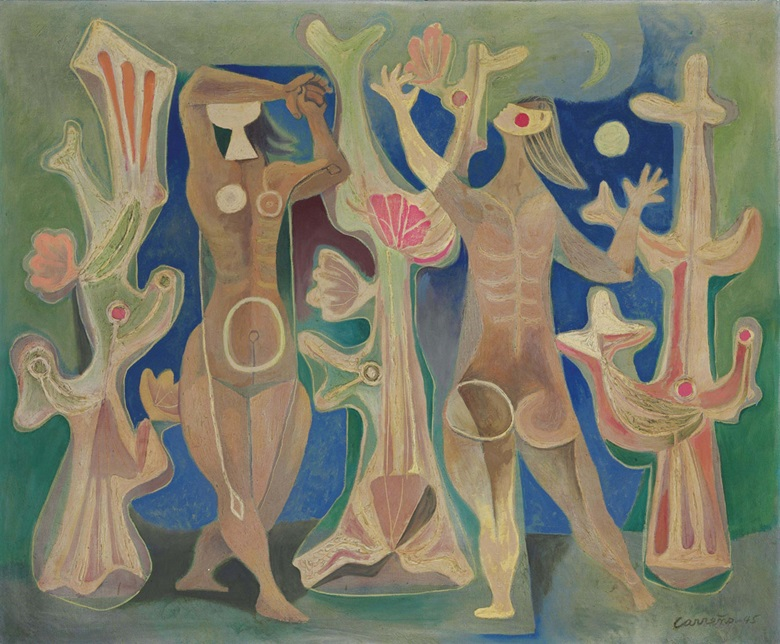 Mario Carreño (1913-1999), Mujeres y Corales, 1945. Oil on canvas, 29⅜ x 35½ in (74.6 x 90.2 cm). Estimate $250,000-350,000. This lot is offered in Latin American Art on 22-23 November 2016 at Christie's in New York, Rockefeller Plaza