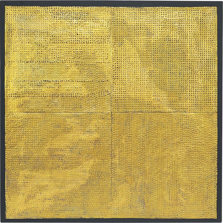 Mathias Goeritz (1915-1990), Mensaje LXXX, circa 1964. Perforated sheet metal on painted wood, 41¼ x 41¼ x ½ in (104.8 x 104.8 x 1.3 cm). Estimate $100,000-150,000. This lot is offered in Latin American Art on 22-23 November 2016 at Christie's in New York, Rockefeller Plaza