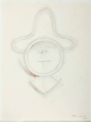 Rufino Tamayo (Mexican, 1899-1991), Hombre con Sombrero. Pencil and colored pencil on paper, 13¼ x 9¾ in (33.7 x 24.8 cm). Estimate $8,000-12,000. This lot is offered in Living with Art on 2-3 December 2016 at Christie's in New York, Rockefeller Plaza