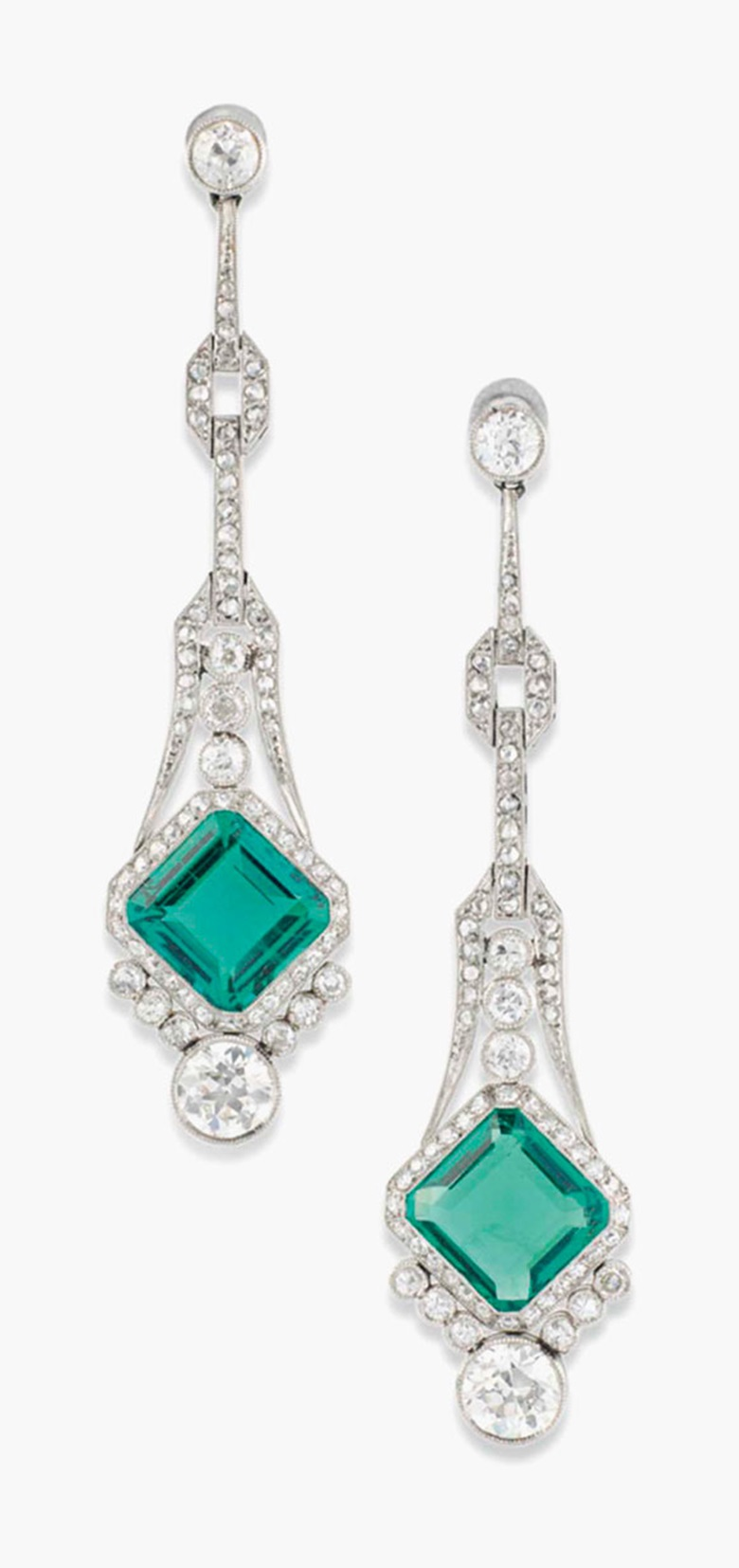 A pair of Art Deco emerald and diamond ear pendants. Estimate £15,000-20,000. This lot is offered in Important Jewels on 30 November 2016 at Christie's in London, King Street