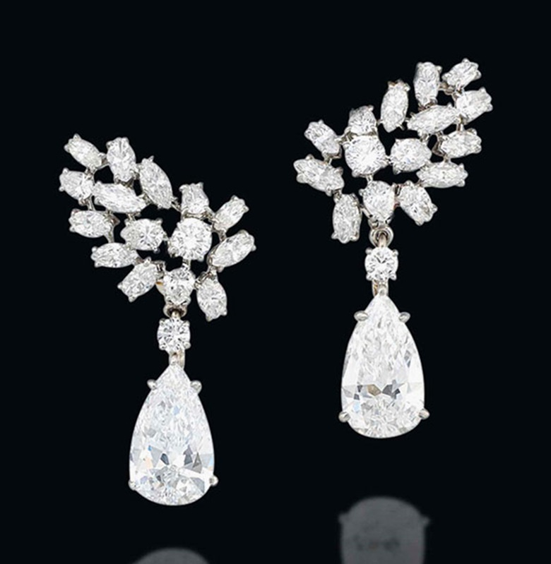 A pair of diamond ear pendants, by Cartier. Estimate £280,000-350,000. This lot is offered in Important Jewels on 30 November 2016 at Christie's in London, King Street