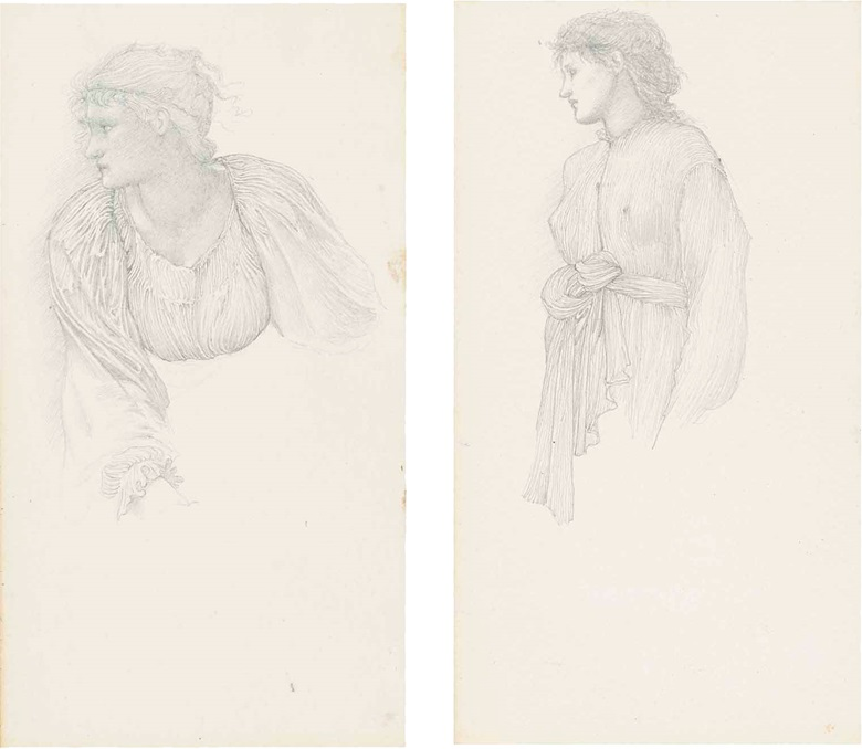 Sir Edward Coley Burne-Jones, Bt., A.R.A., R.W.S. (1833-1898), Studies for The Golden Stairs female figure studies, including possibly Margaret Burne-Jones and Mary Stuart Wortley, one with a subsidiary drapery study (verso) and one with a study for The Nativity (verso). Pencil on paper, five in one frame, 10 x 5½ in (25.4 x 14 cm), (5). Estimate £20,000-30,000. This lot is offered in