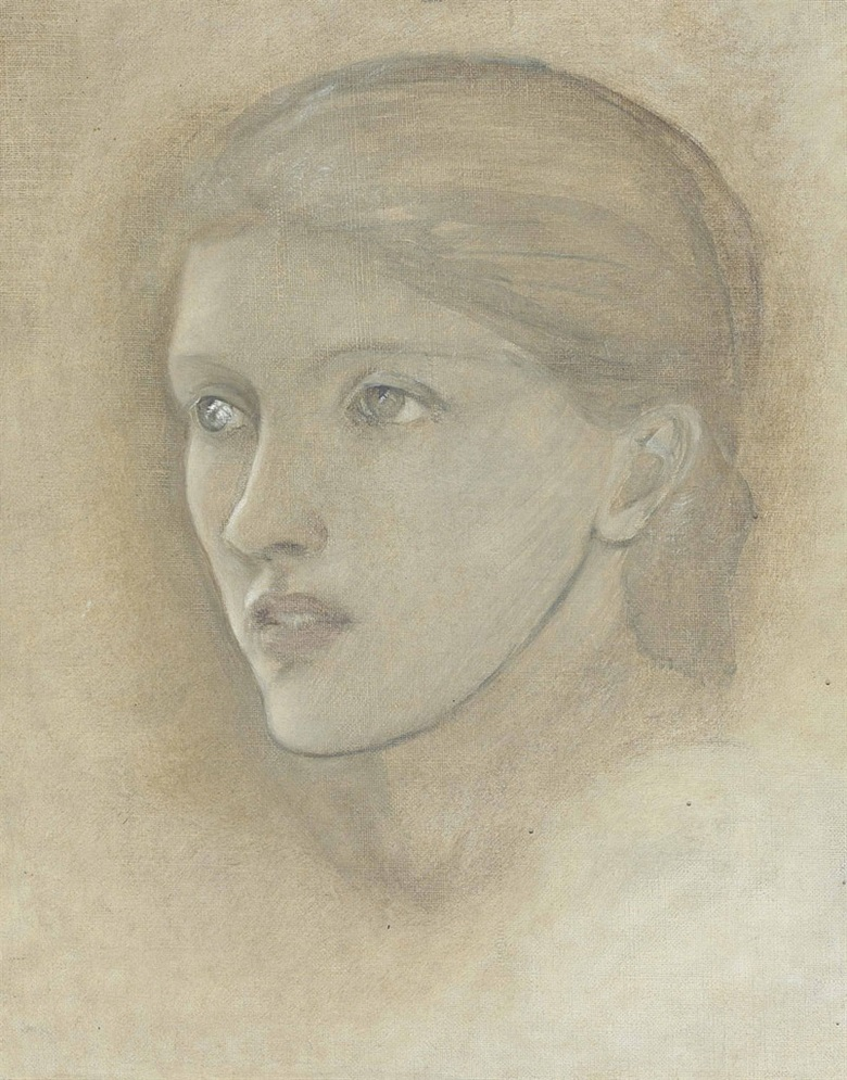 Sir Edward Coley Burne-Jones, Bt., A.R.A., R.W.S. (1833-1898), Female head study, looking to the right, for The Golden Stairs, possibly Mary Stuart Wortley, later Countess Lovelace. Oil on canvas, 14½ x 11¾ in (36.8 x 29.8 cm). Estimate £25,000-35,000. This lot is offered in Victorian, Pre-Raphaelite and British Impressionist Art on 14 December 2016 at Christie's in