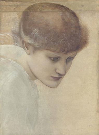 Sir Edward Coley Burne-Jones, Bt., A.R.A., R.W.S. (1833-1898), Head Study of Dorothy Dene Looking Downwards, for the Golden Stairs. Oil on canvas, 17 x 12¾ in (43.2 x 32.4 cm). Estimate £30,000-50,000. This lot is offered in Victorian, Pre-Raphaelite and British Impressionist Art on 14 December 2016 at Christie's in London, King Street