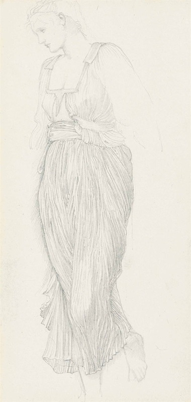 Sir Edward Coley Burne-Jones, Bt., A.R.A., R.W.S. (1833-1898), Study for The Golden Stairs Frances Graham at the Foot of the Stairs. Pencil on paper, laid onto the final page of Burne-Joness Roberson & Co. sketchbook, hessian bound, numbered and dated xiv 1880 (on the cover). 10 x 5½ in (25.4 x 14 cm). Estimate £10,000-15,000. This lot is offered in Victorian, Pre-Raphaelite and