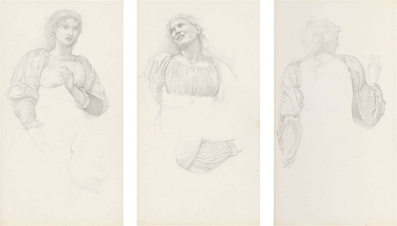 Sir Edward Coley Burne-Jones, Bt., A.R.A., R.W.S. (1833-1898), Studies for The Golden Stairs female figure studies, including possibly Margaret Burne-Jones and Mary Stuart Wortley, one with a subsidiary drapery study (verso) and one with a study for The Nativity (verso). Pencil on paper, five in one frame, 10 x 5 ½ in (25.4 x 14 cm), (5). Estimate £20,000-30,000. This lot is offered in Victorian,