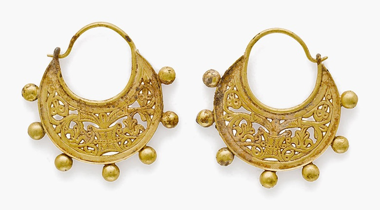 A pair of Byzantine gold crescentic earrings. Circa 9th century A.D. Each 1¾ in (4.5 cm) long. Estimate $5,000-7,000. This lot is offered in Ancient Jewelry Wearable Art, 29 November–8 December 2016, Online
