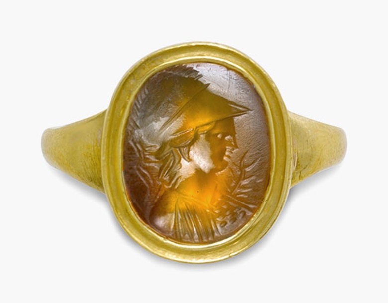 A Roman carnelian ringstone with Minerva. Circa 1st century B.C. ½ in (1.3 cm) long; ring size 8. Estimate $3,000-5,000. This lot is offered in Ancient Jewelry Wearable Art, 29 November–8 December 2016, Online