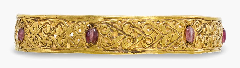 A Byzantine open-work gold bracelet. Circa 4th-5th century A.D. 3 in (7.5 cm) wide. Estimate $8,000-12,000. This lot is offered in Ancient Jewelry Wearable Art, 29 November–8 December 2016, Online