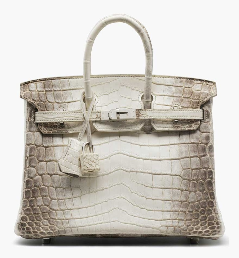 A matte Himalaya Nilo Crocodile Birkin 25 bag. Hermès, 2012. 10 x 8 x 5 in. Estimate $70,000-90,000. This lot is offered in Handbags and Accessories on 1 December 2016-12 December 2016 at Christie's in New York, Rockefeller Plaza