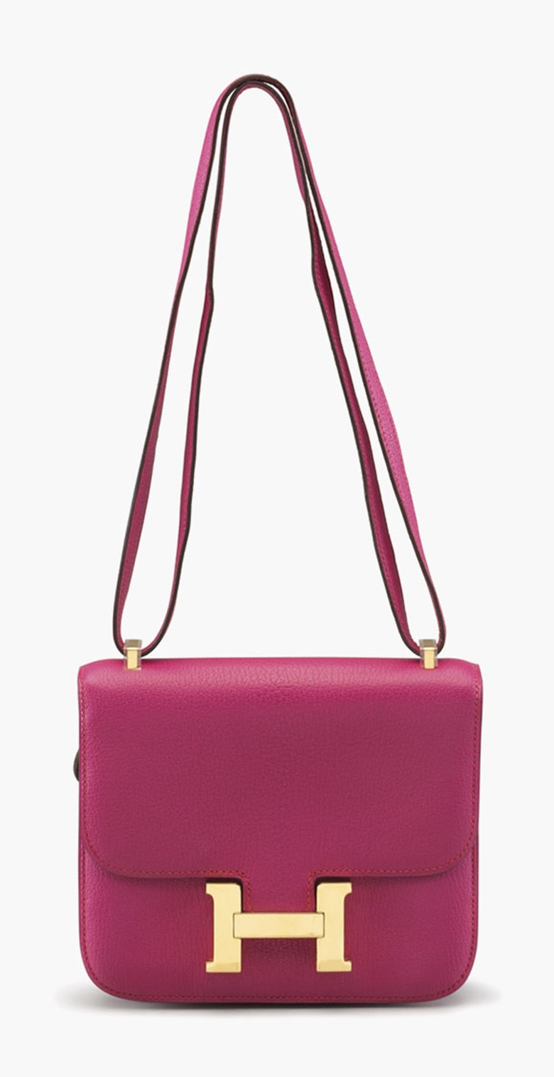 A rose shocking chevre leather Constance 18 bag. Estimate $3,000-4,000. This lot is offered in Handbags and Accessories, 1-12 December 2016, Online