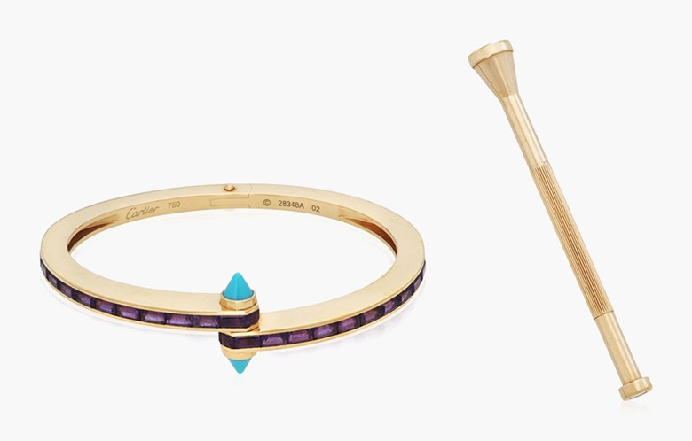 Cartier amethyst and turquoise bangle. Estimate $4,000-6,000. This lot is offered in December Jewels Online, 1-9 December 2016, Online