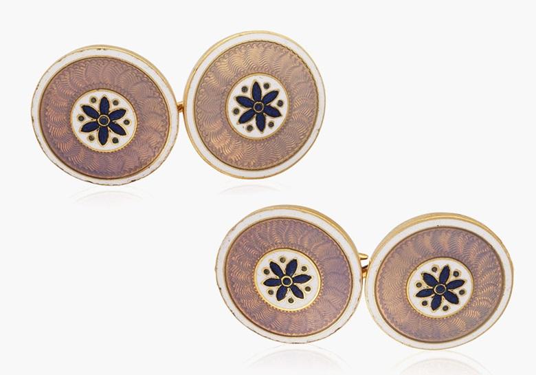 Cartier Belle Époque gold and enamel cufflinks. Estimate $6,000-8,000. This lot is offered in Cufflinks for the Modern Gentleman, 1-13 December 2016, Online