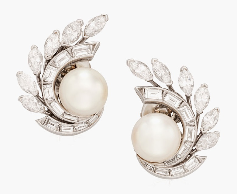Van Cleef & Arpels cultured pearl and diamond earrings. Estimate $10,000-15,000. This lot is offered in December Jewels Online, 1-9 December 2016, Online