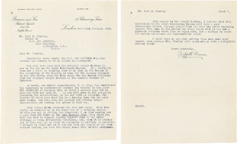 [Wright, Orville (1871-1948)] Brewer, Griffith (1867-1948). Correspondence of 11 typed letters signed ('Griffith Brewer'), to Earl Findley, London, 14 February–16 May 1928. Click through for full lot details. Estimate $3,000-5,000. This lot is offered in Fine Printed Books and Manuscripts, including Americana on 14 December at Christie's in New York