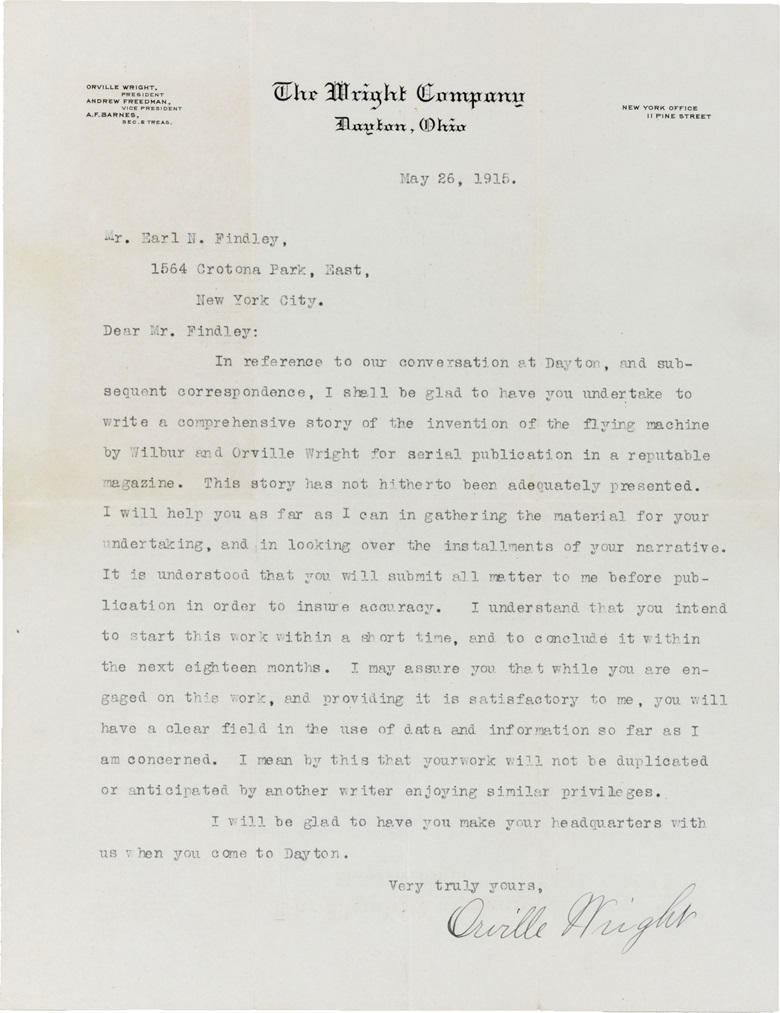 Wright, Orville (1871-1948). Archive of papers concerning the writing and eventual publication of a lengthy biography of Orville and Wilbur Wright. Together with other letters and copies of related correspondence (lacking first 12 pages). Estimate $15,000–20,000. This lot is offered in Fine Printed Books and Manuscripts, including Americana on 14 December at Christie's in New York