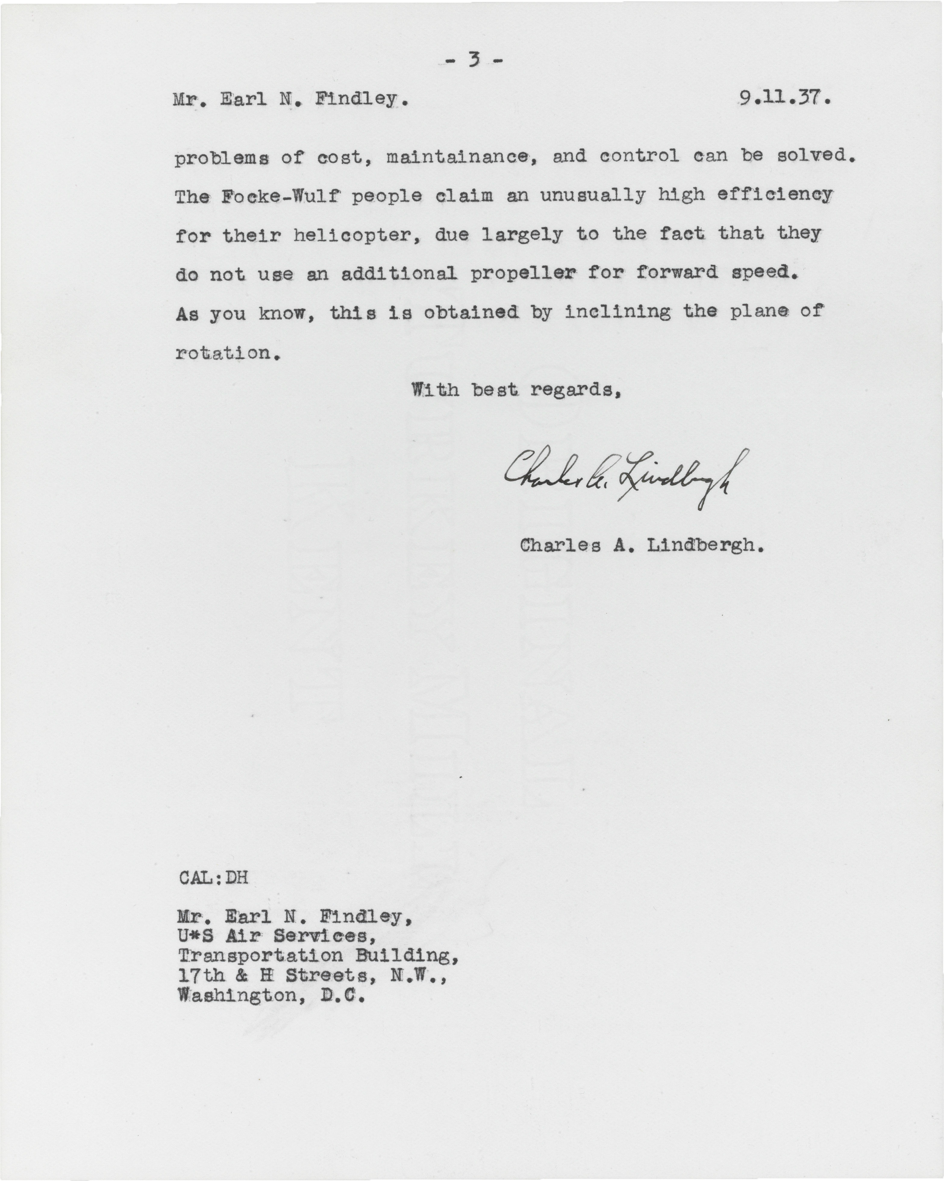 Lindbergh, Charles Augustus (1902-1974). Typed letter signed ('Charles A. Lindbergh'), to Earl Findley, Weald, 9 November 1937. 3 pages, 4to. Estimate. $6,000–8,000. This lot is offered in Fine Printed Books and Manuscripts, including Americana on 14 December at Christie's in New York